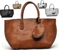 borsa donna grande shopping bauletto pelle tracolla spalla 3in1 unica tinta MODA