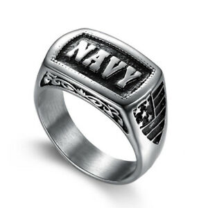 Retro Men's Jewelry Army Ring Stainless Steel United States Navy Ring Biker Punk