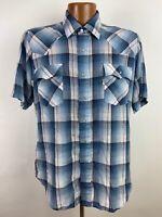Vintage Levi's Plaid Western Shirt Men's L Blue Pearl Snap Metallic Thread S/S