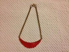 Costume Jewellery - Vintage Red Enamel Necklace with Gold Coloured Chain
