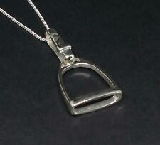 925 Sterling Silver Horse Stirrup Pendant Chain Necklace Gift Equestrian