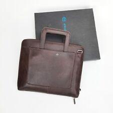 NWT PIQUADRO Brown Leather Briefcase strap folio brown brief notebook