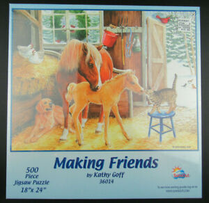 """2003 SUNOUT Inc Making Friends 500pc Jigsaw Puzzle by Kathy Goff 36014 18""""x24"""""""