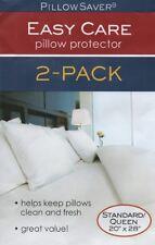 Pillowsaver Zipper Set 2 Queen / Standard Size Pillow Cover White Protectors NEW