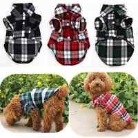 Pet Dog Puppy Plaid T Shirt Lapel Coat Cat Jacket Clothes Costume Small Hot XS-L