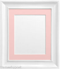 """Scandi White Picture Photo Frames With Mounts in Various Colours & Sizes 14""""x11"""" Pic Size A4 Pink Mount"""