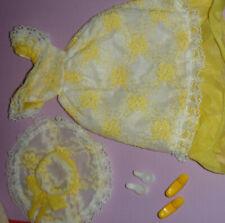 vintage PETRA PLASTY doll fashion : #5806 yellow white dress hat
