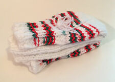 Handmade Colorful Christmas Winter Socks Gift Child's One Size White & Red - New
