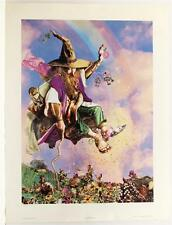 Vintage TOM CROSS Elves Pagan Fantasy Wizards off set Lithograph SIGNED #73T