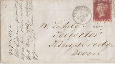 GB LINE ENGRAVED :1869 Id plate 99 N-C used on envelope-PLYMOUTH 620