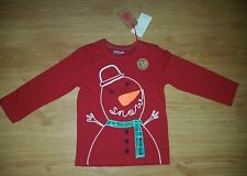 NEXT Unisex XMAS SNOWMAN WITH LIGHTS ON HIS NOSE t-shirt 2-3 yrs NEW Christmas