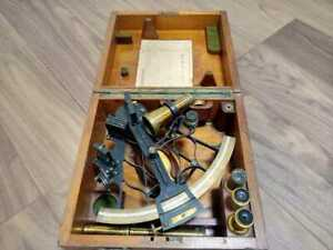 Vintage Navy Sextant Set Real Military With Box Tsuchiura Navy Air Corps