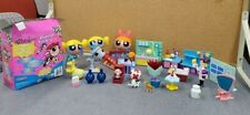 Used powerpuff girls playsets lot, 4 sets 2 bubbles & buttercup & lots of Parts