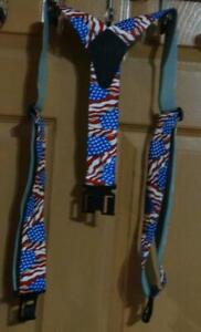 New Perry Suspenders Mens Elastic Hook End American Flag Suspenders Regular