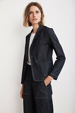 VELVET By Graham & Spencer Alpha Lightweight Denim Blazer Indigo S $238 B11