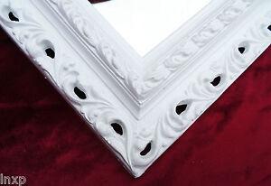 Wall Mirror 43x36 Baroque Rectangular White Repro Picture Frame Arabesco 1