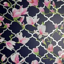 Magnolia Trellis Navy Blue Pink Floral Metallic Silver Wallpaper 908001 Arthouse
