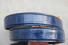 NO JOINTED - Blue Genuine Alligator Crocodile Belly Leather Skin MEN'S Belt