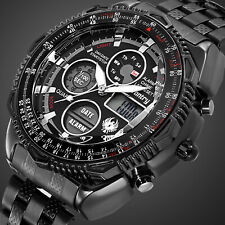 INFANTRY Mens Digital Quartz Wrist Watch Sport Military Tactical Stainless Steel