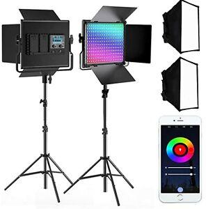 SAMTIAN RGB Video Light, 2 Packs RGB Video Lighting Kit with Light Panel Softbox