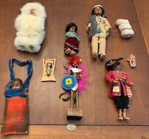 Vintage Native American Indian Doll Lot Peru Trinidad Eskimo Deerfoot Eagle Girl