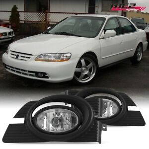 For 1998-2002 Honda Accord PAIR OE Factory Fit Fog Light Bumper Kit Clear Lens