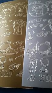 Peel Off stickers - Golf - gold/silver x 2 sheets