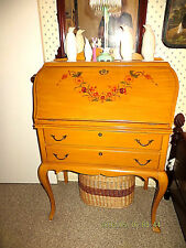 ANTIQUE DESK AND CHAIR SLANT FRONT DROP LID GOLD ANTIQUE FINISH TWO DRAWERS