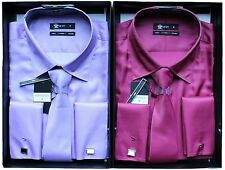 Mens Voeut Fashion Shirt Tie Cuff Links Box Set Shimmer Size XS S M L XL XXL