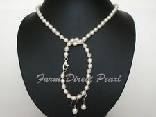 """18"""" Inch Set Genuine White Pearl Necklace Earrings Bracelet Cultured Freshwater"""