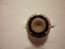 Whirlwind Cut Smokey Quartz Ring w/White Topaz Accents in 925 Sterling Silver