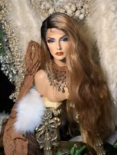 """NEW! HOT 36"""" ROOTED BROWN MIX HUMAN HAIR BLEND, SWISS LACE, SIDE PART, WIG!"""