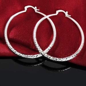 New Popular 50MM Geometric Rhombus Reflective Exaggerated Loop Earrings Women