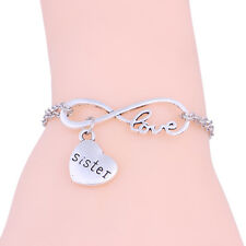 Fashion Wome's Infinity Family Heart Sister Bangle Pendant Bracelet Chain Charm