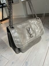 Yves SAINT LAURENT Niki Bag Damen Tasche Leder Medium grau crinkled
