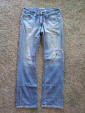 BKE Jake Straight Leg Distress Lt Wash Top Stitched Cotton Men's Jeans Pants 36