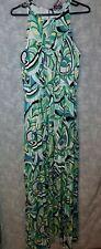 JENNIFER LOPEZ Size 16 SHEER MAXI OVERLAY GREEN Tropical Print DRESS w/bracelet