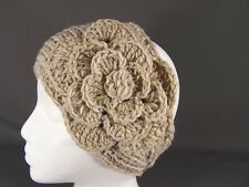 Ear warmer muffs knit head wrap hat ski headband crochet KHAKI BEIGE sparkle