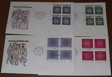 Canada 554-57 Christmas '71 Snowflakes Cole set of Block of 4, Fdcs