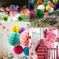5pcs Tissue Paper Honeycomb Balls Flower Pastel Wedding Holiday Party Decorative