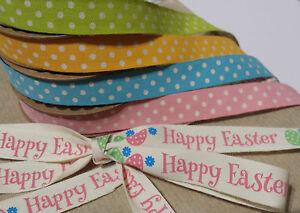 5m Roll Cotton Easter Fabric Ribbon Egg Polka Dot Spot Pastel Pink Blue Green