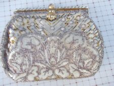 Lovely vintage beaded evening bag with pearl trim handmade in France