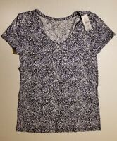 Ann Taylor Loft Outlet Navy Stars Print Tee  T Shirt Size XS S M NWT SHIPS FAST