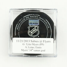 2013-14 Tyler Myers Buffalo Sabres Game-Used Goal-Scored Puck -Ennis Assist