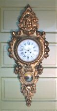 """Superb Mid-19th C. 48"""" FRENCH CARVED GILT WOOD Figural Clock  c. 1960  antique"""