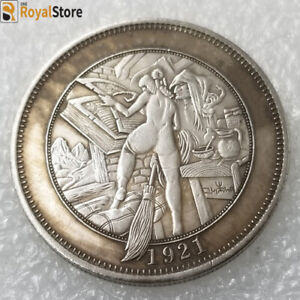 Hobo Nickel COINS, 1921 girls magician's broom Carved coins , free shipping