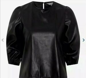 Women's Black PU Faux Leather Top Principles *CLEARANCE* Brand New
