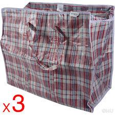 3 X LARGE SHOPPING BAG 28x58x48 QUALITY WOVEN PVC PLASTIC LAUNDRY STORAGE BAGS