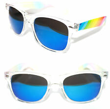 Men's Women's Wayfarer Sunglasses Black clear Blue Mirror Multi Rainbow Color