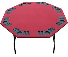 "52"" Octagon Burgundy Felt Poker Table Folding Steel Legs-Texas Holdem Card Games"
